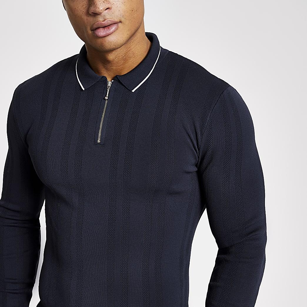 Polo  bleu marine ajustéen maille à col zippé