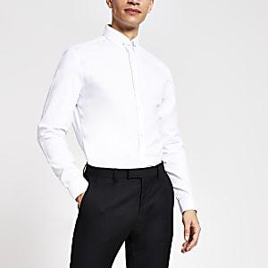 Wit slim-fit overhemd met textuur en speld bij kraag