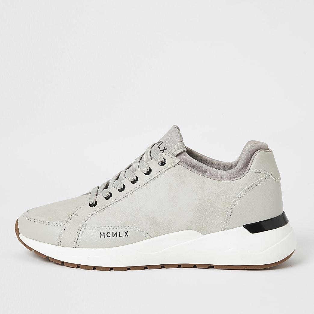 MCMLX ecru sock ankle runner trainers