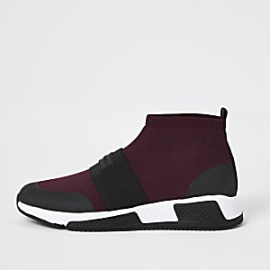 Rode gebreide halfhoge sokvormigehardloop sneakers