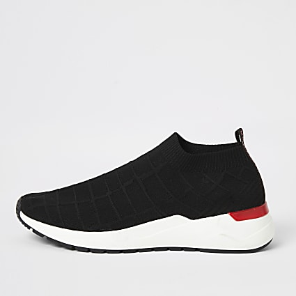 Black knit runner sock trainers