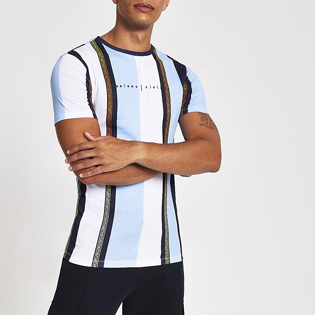 "Blaues, gestreiftes Muscle Fit T-Shirt ""Maison riviera"""