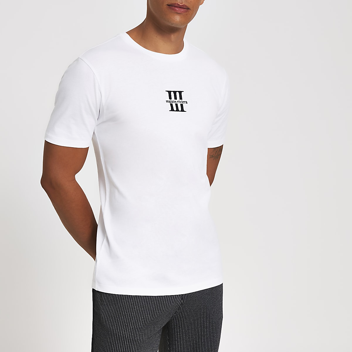 White Maison Riviera slim fit T-shirt