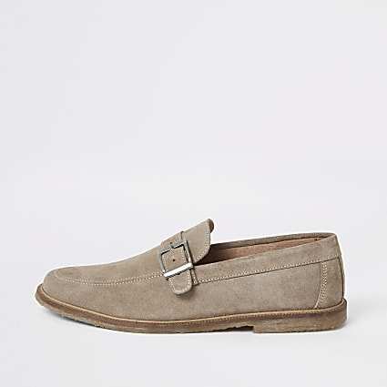 Ecru suede buckle strap loafers