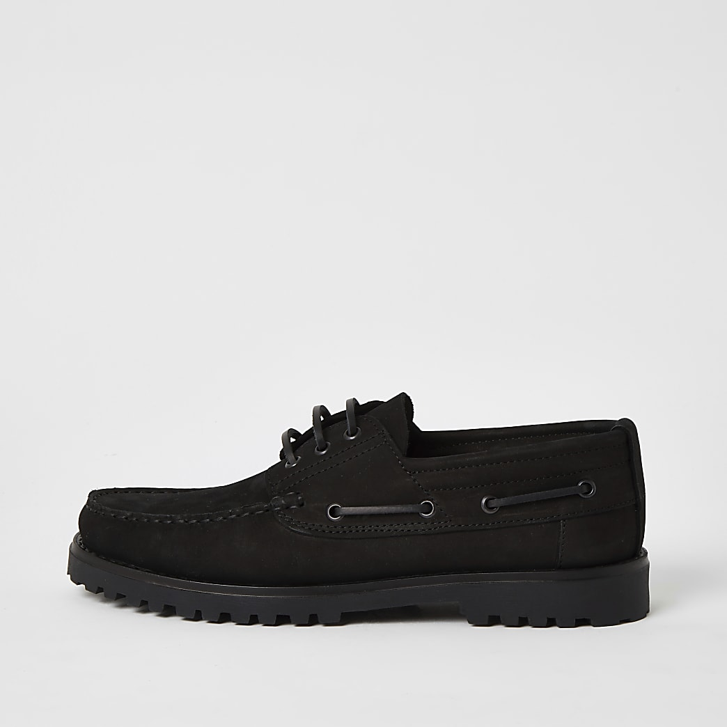 Black leather chunky boat shoes