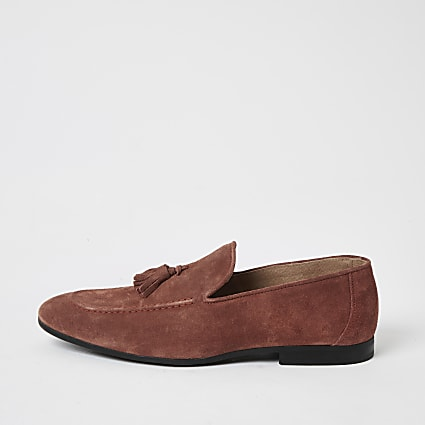 Dark orange suede tassel loafers