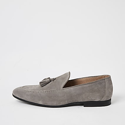 Light grey suede tassel loafers