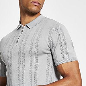 Graues Strick-Poloshirt im Muscle Fit mit kurzem Reißverschluss