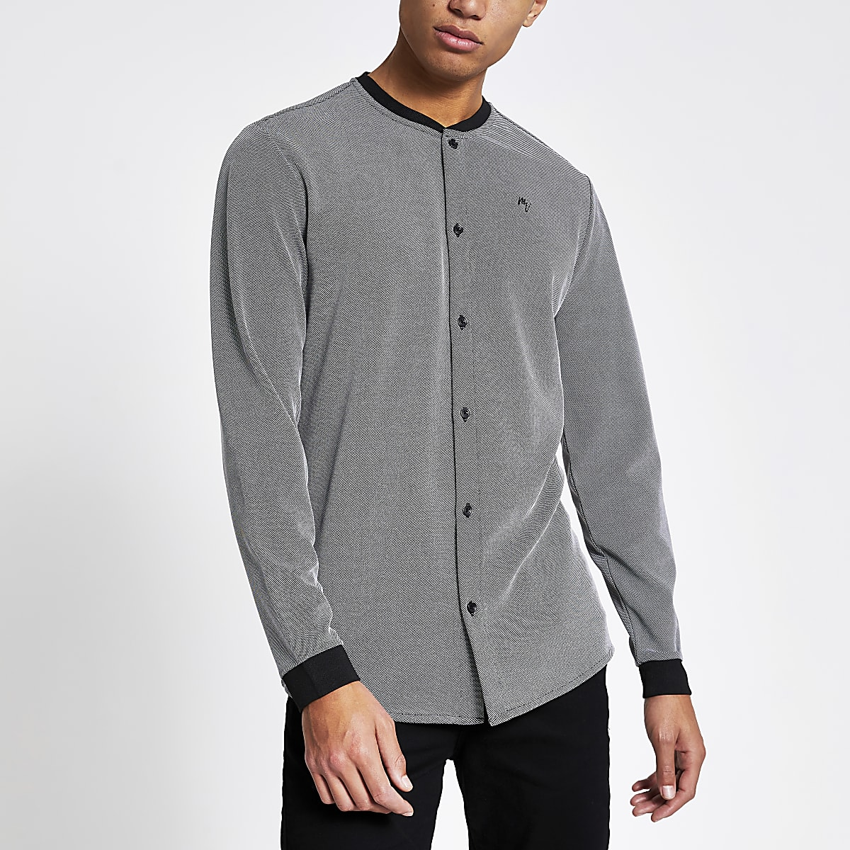 Grey jacquard regular fit baseball shirt