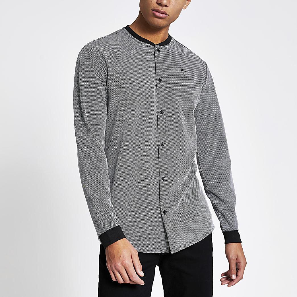 MaisonRiviera- Grijs baseball shirt in regularfit