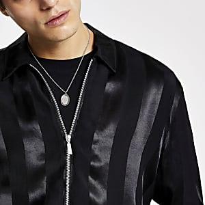 Smart Western – Schwarzes Hemd aus Satin im Regular Fit