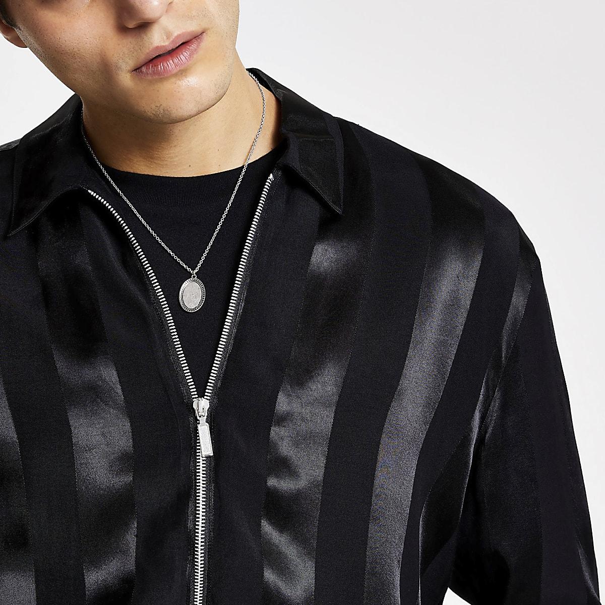 Smart Western black satin regular fit shirt