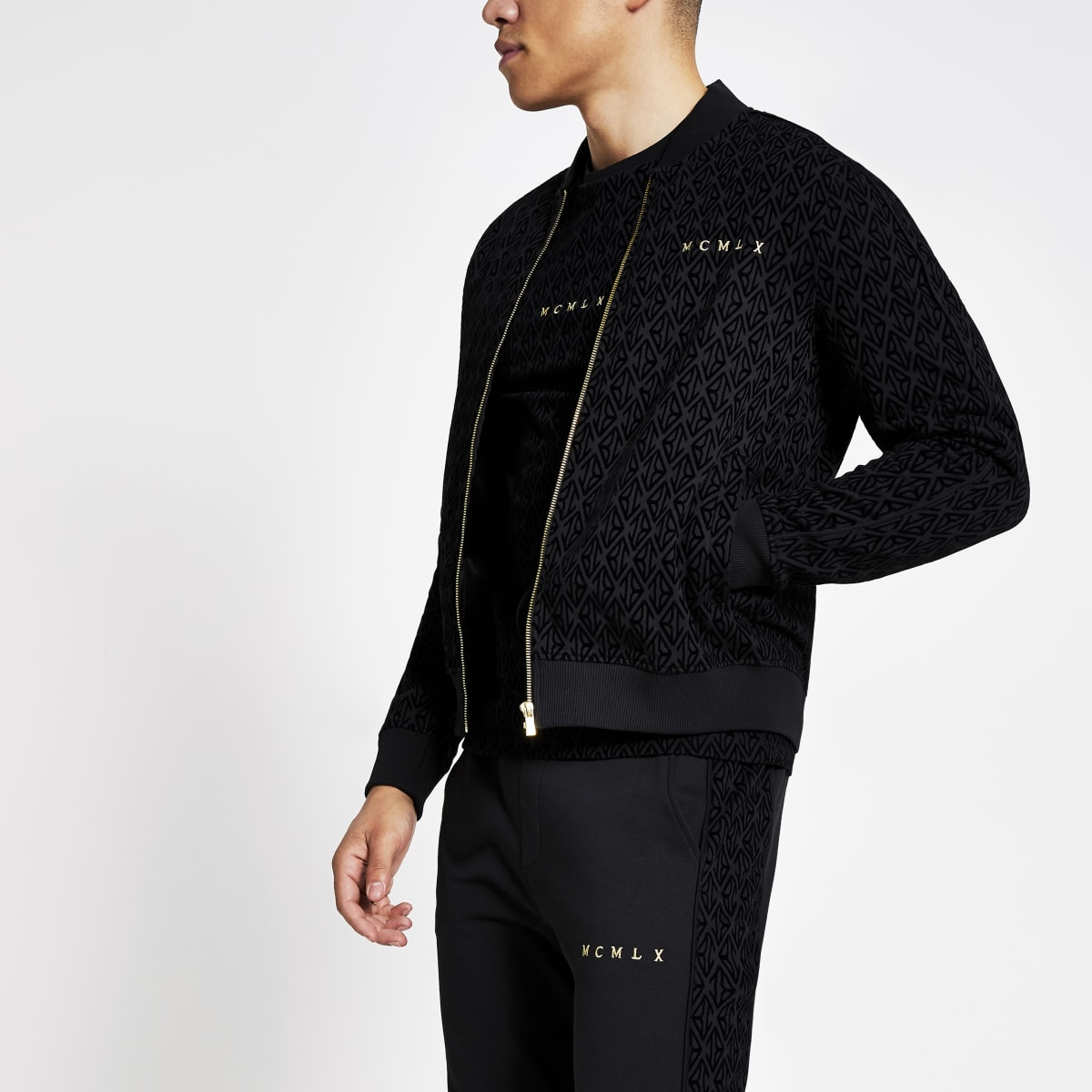 Black MCMLX velour slim fit jacket