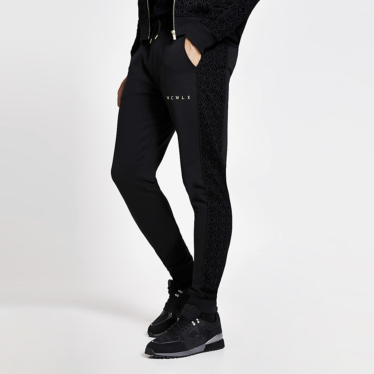 Black MCMLVX velour panel slim fit joggers