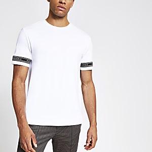 Maison Riviera – T-shirt slim blanc avec bandeà logo