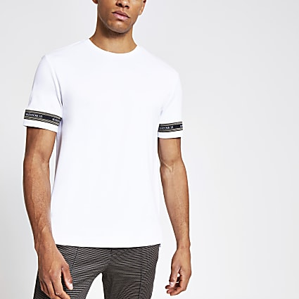 White Maison  slim fit dogtooth tape T-shirt