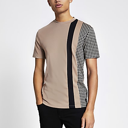 Brown dogtooth colour block slim fit T-shirt