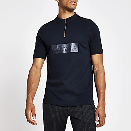 MCMLX navy slim fit funnel neck polo shirt