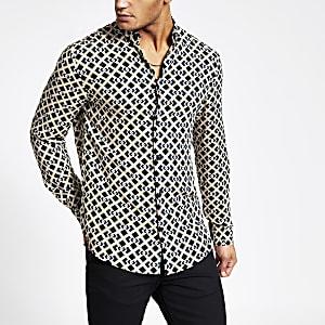 Chemise noire coupe slim à manches longues imprimés géométriques