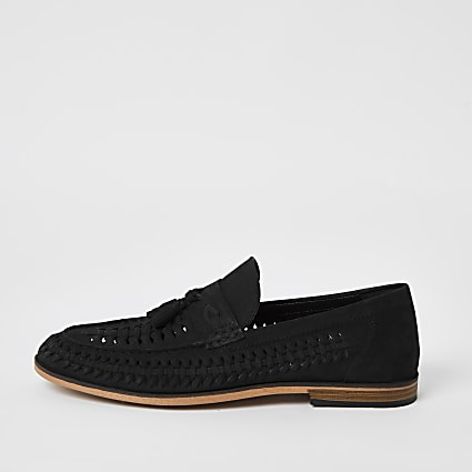 Black leather woven tassel loafers