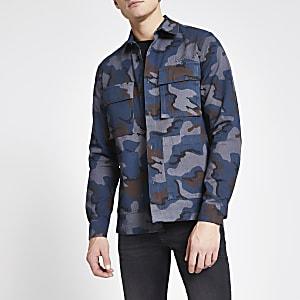 Donkergrijs camouflage overshirt met standaard pasvorm