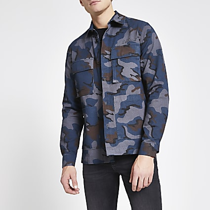 Dark grey camo regular fit overshirt