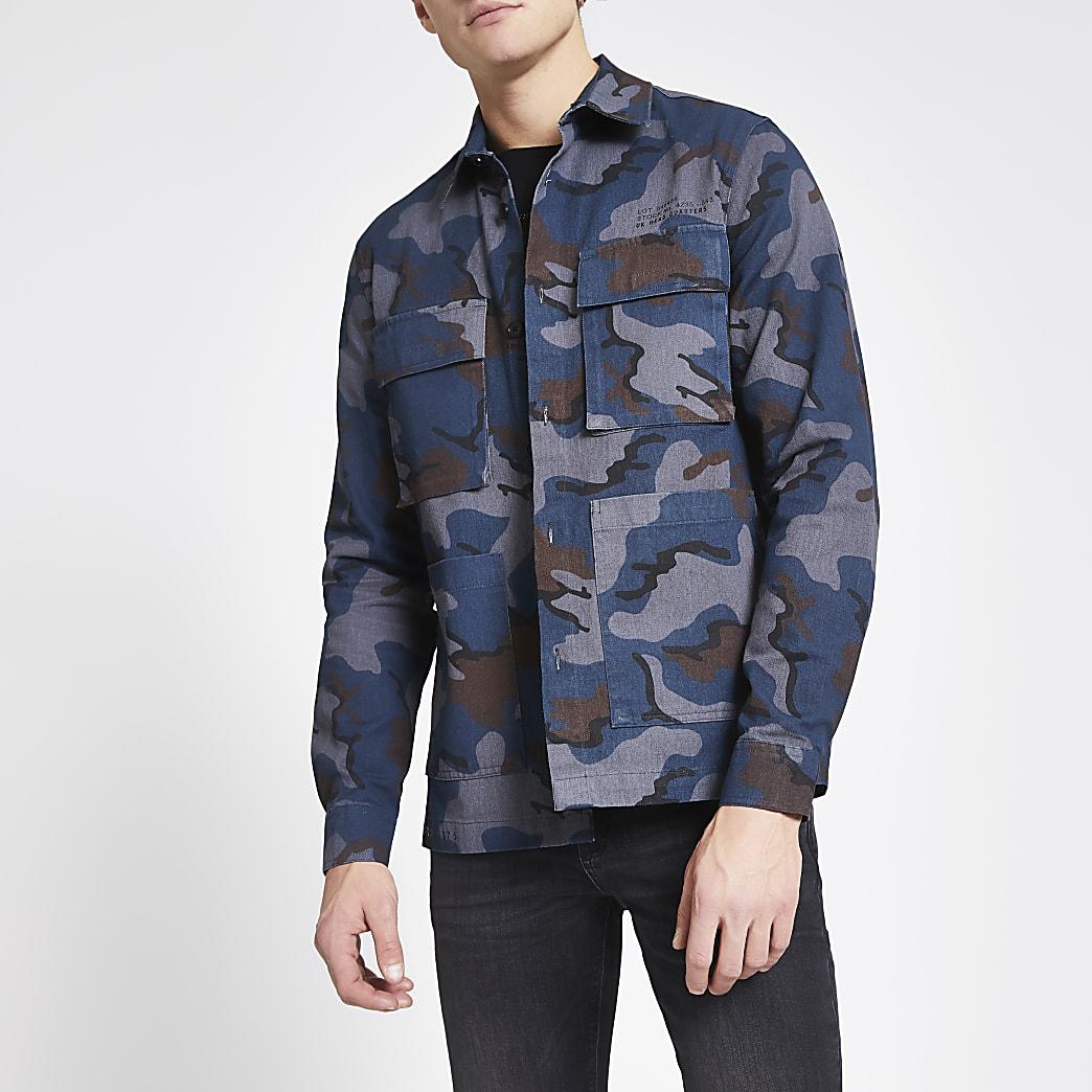Dunkelgraues Oberhemd im Regular Fit mit Camouflagemuster