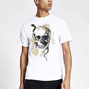 Wit slim-fit T-shirt met doodshoofdprint