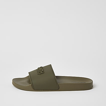 SVNTH khaki embossed sliders