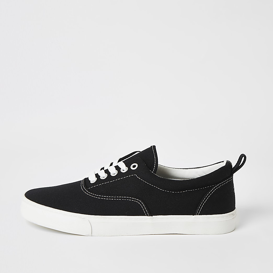 Black stitch detail lace-up plimsoll trainers