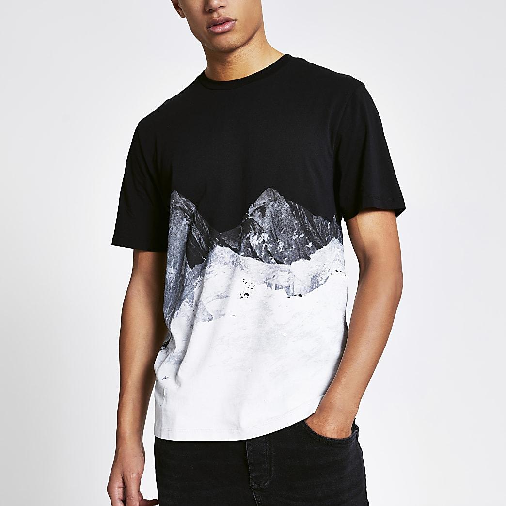 Zwart slim-fit T-shirt met bergen print