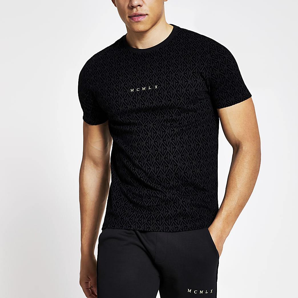 Zwart slim-fit T-shirt met MCMLX-borduursel