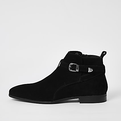 Black suede western buckle ankle boots