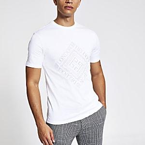 Besticktes Slim Fit T-Shirt in Weiß