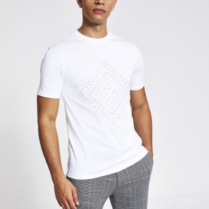 White embroidered slim fit T-shirt