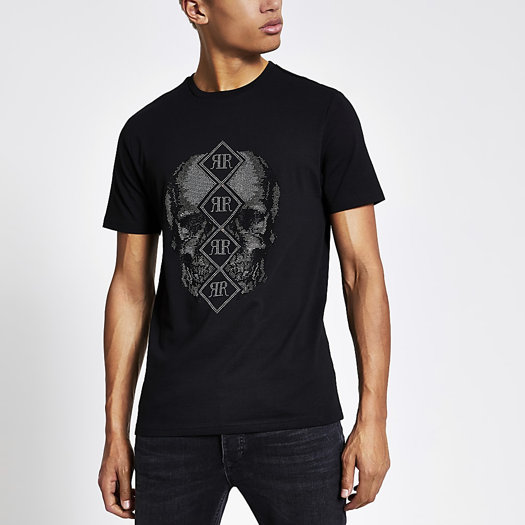 Zwart slim-fit T-shirt met doodshoofd, RI-letters en siersteentjes