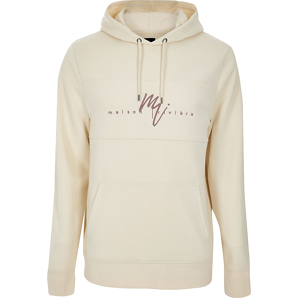 Big and Tall ecru Maison Riviera slim hoodie