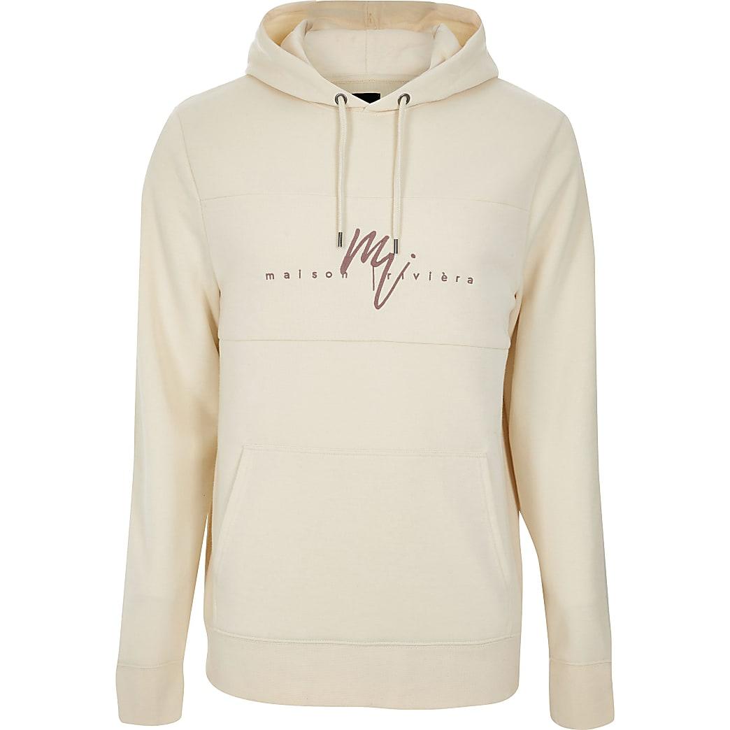 MaisonRiviera- Big and Tallecru slim-fit hoodie
