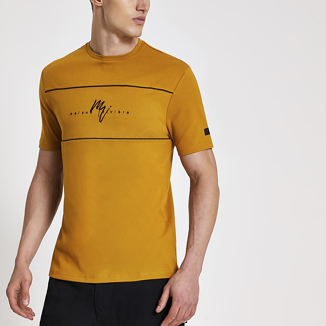Maison Riviera brown slim fit T-shirt