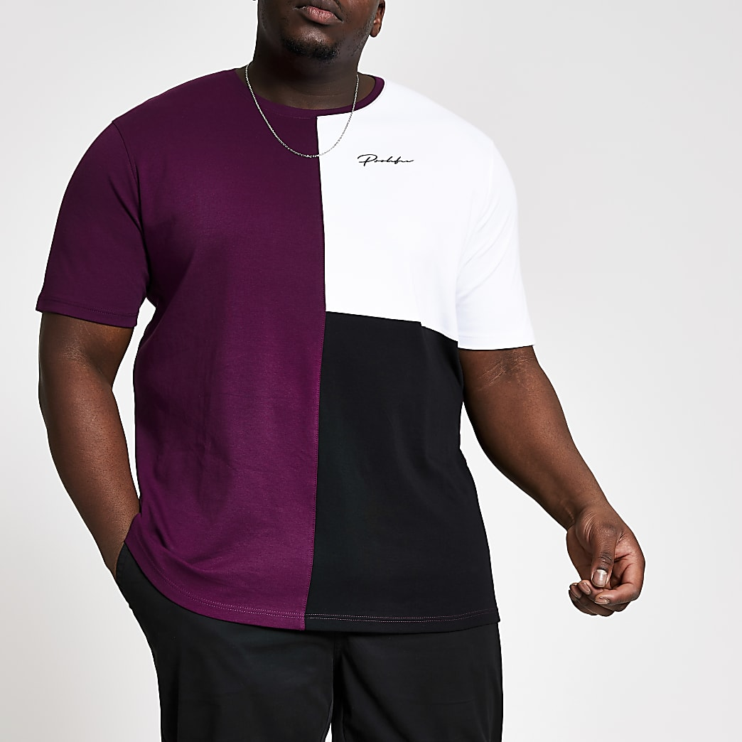 Big and Tall- Paars slim-fit T-shirt met kleurvlakken