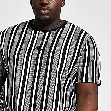 Big and Tall white stripe slim fit T-shirt