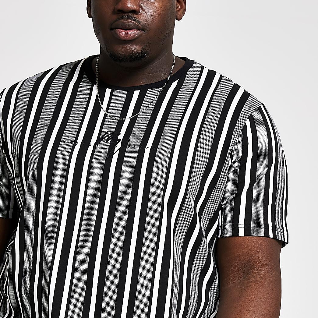 Big and Tall - Wit gestreept slim-fit T-shirt