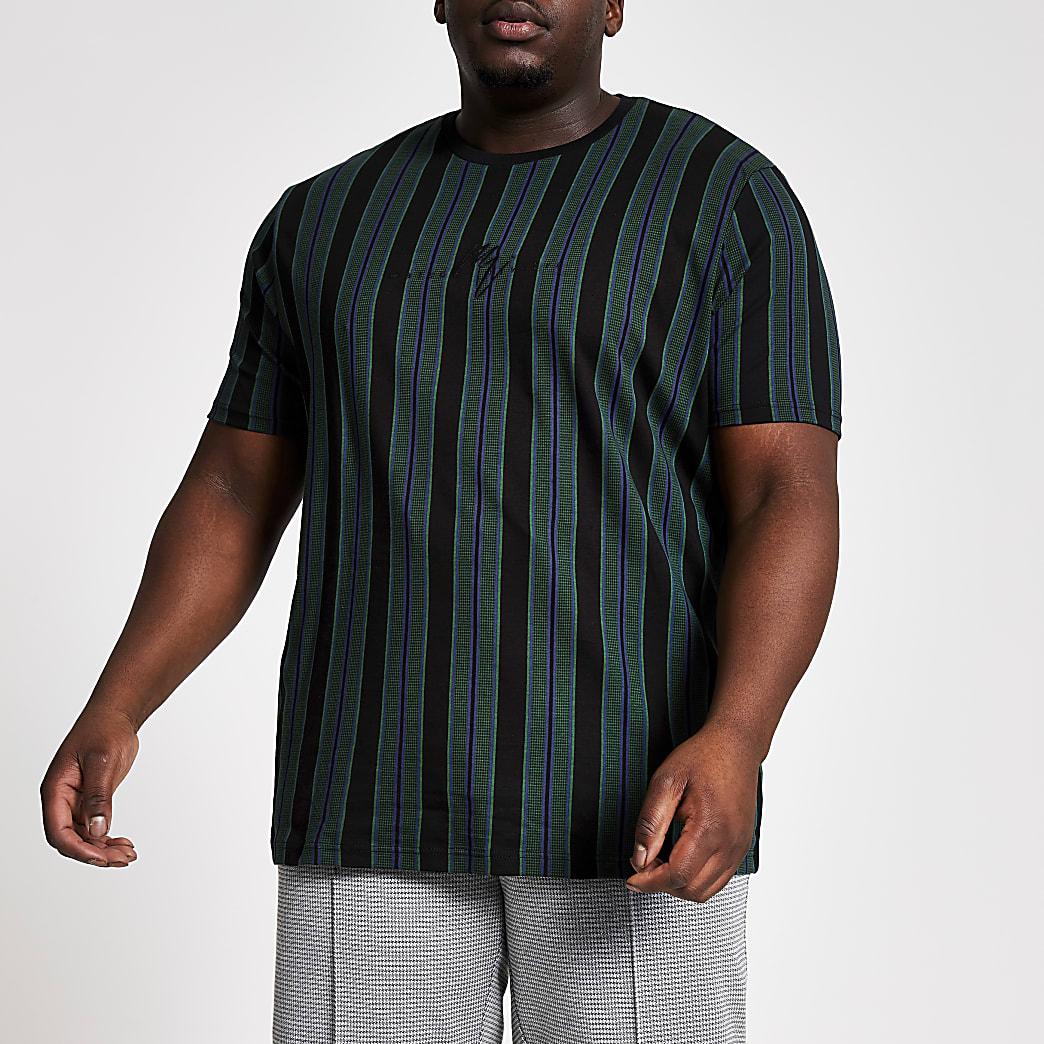 Big and Tall- Zwart slim-fit T-shirt met pied-de-poule motief