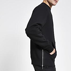 Zwarte sweater met standaard pasvorm en rits aan de zijkant