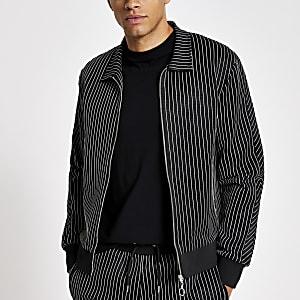 Chemise slim zippée noireà rayures fines