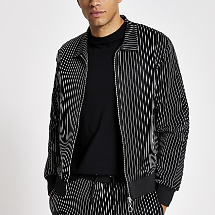 Black pinstripe slim fit zip through shirt