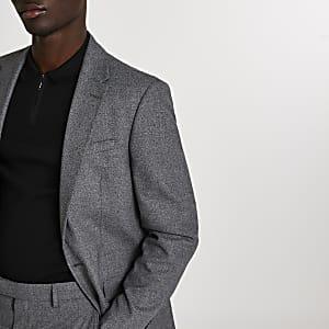 Veste de costume grise cintrée à boutonnage simple