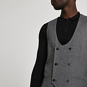 Grey double breasted suit waistcoast