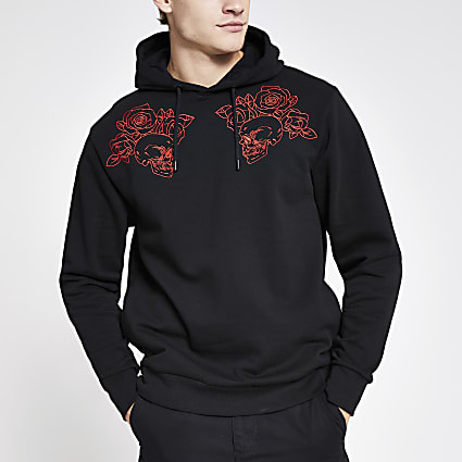 Black skull embroidered regular fit hoodie