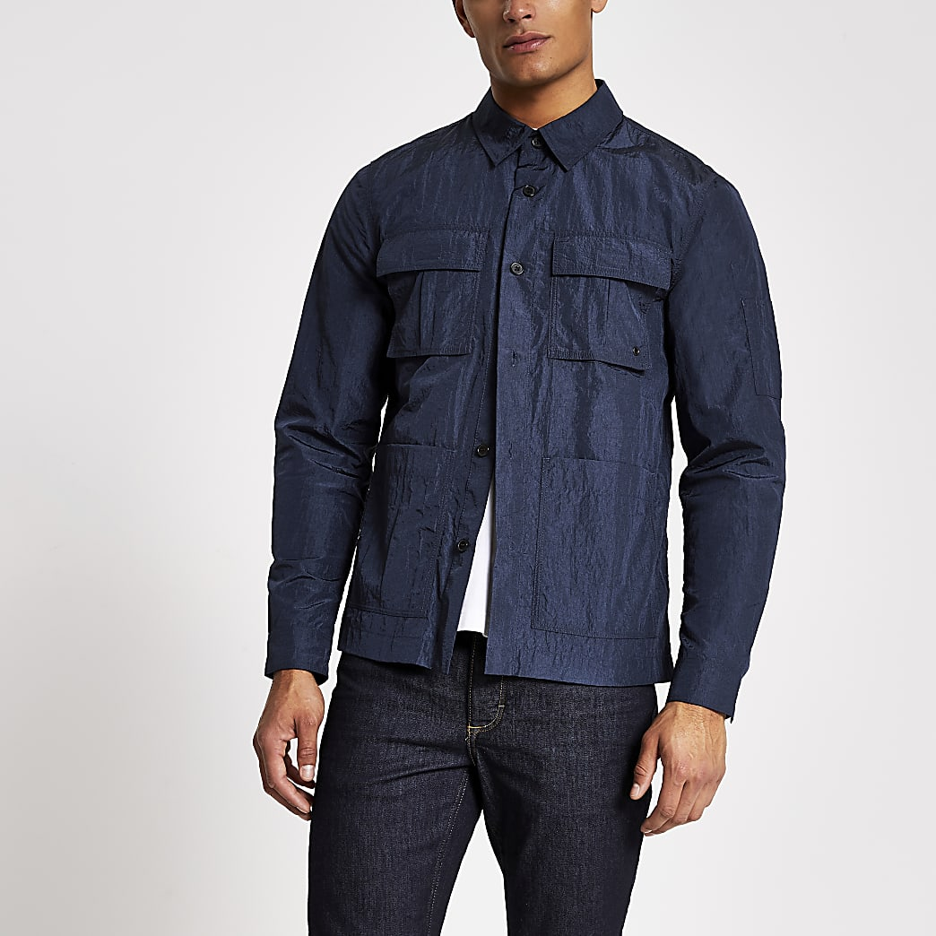 Navy long sleeve regular fit overshirt